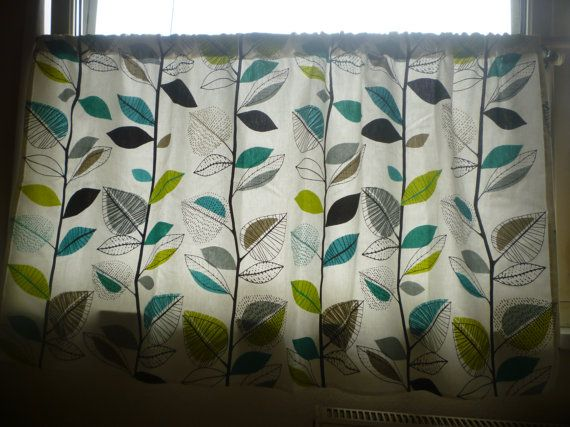 Teal Blue Yellowy Green Grey Black White Window Curtain Valance (unlined) This is obviously not a true picture of the length- as not made yet  54