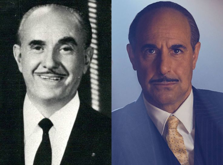 Stanley Tucci and Jack Warner from Feud: Bette and Joan Transformations: See How Much the Cast Looks like the Real-Life Figures