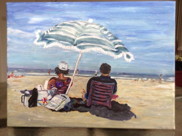 Dagje strand..... Olie op canvas