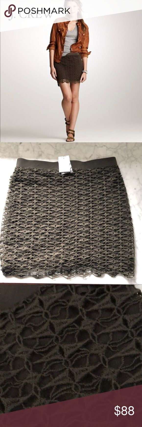 """J. Crew Lace Mini Skirt NWT. Never worn. Perfect condition. We took our famous Italian merino wool yarn and gave it a chic new look by spinning it into lace (a pattern created in-house by our designers). The result? An elegant wisp of a skirt (lined in bias-cut silk) you won't find anywhere else but here. In a 14-gauge knit. Side zip. 16 1/2"""" long. Part of J.Crew Collection. Import. 100% Merino Wool. Lining: 100% Silk. True color is 3rd pic. Chocolate brown. J. Crew Skirts Mini"""