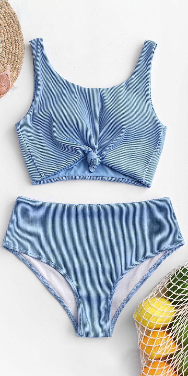 Cute blue tankini swimsuit bikinis set