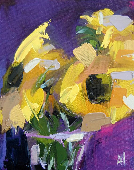 Sunflowers and Purple original floral oil painting by Angela Moulton