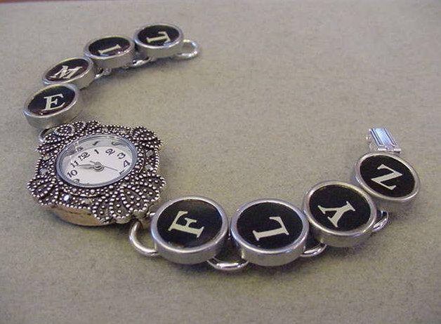 Typewriter key Watch TIME FLYZ Typewriter key bracelet watch with crystals by magiccloset on Etsy