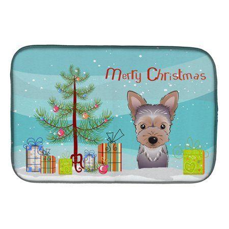 Christmas Tree And Yorkie Puppy Dish Drying Mat Multicolor Yorkiepuppymattedhair Memory Foam Bath Rugs Foam Mats Yorkie Puppy