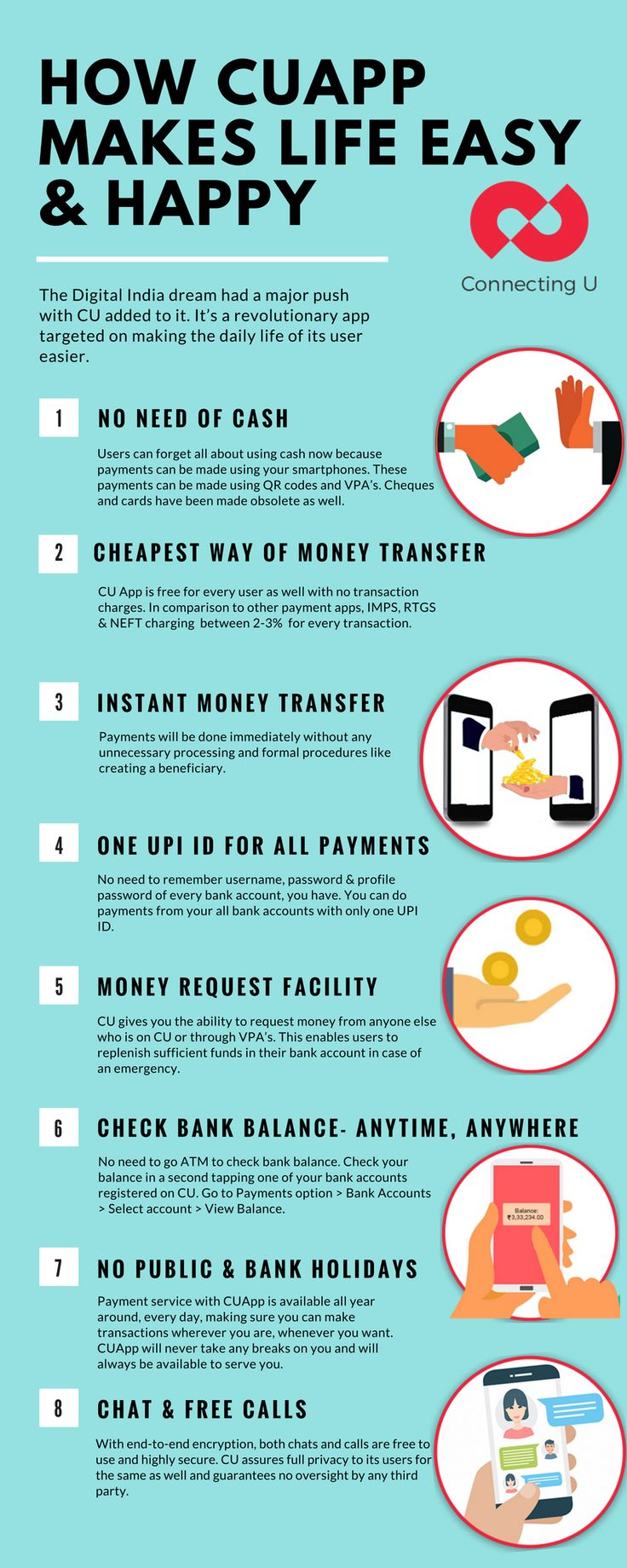 CU is wonderful app committed to providing the very best in payments and chatting options to the user. Following through with the Digital India vision, it's emphasis is on making the daily life of the user easier.