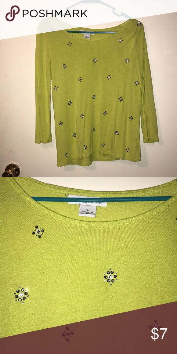 Tops Lime Green rhinestone top Liz Claiborne Tops Tees - Long Sleeve
