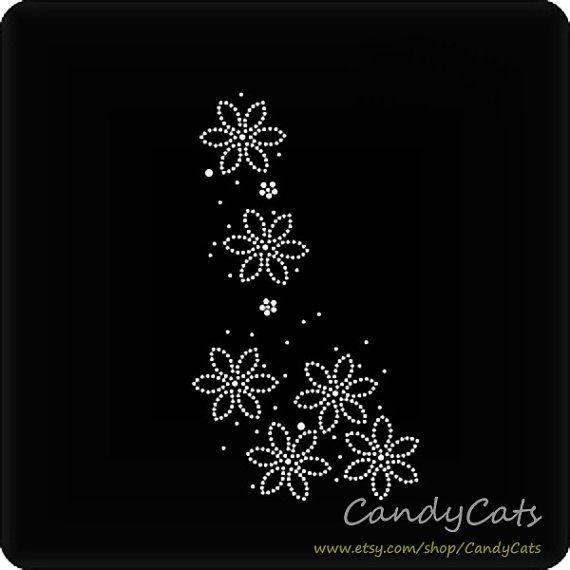 Bridesmaid Iron On Rhinestone Transfer Flowers Hotfix by candycats, $4.99