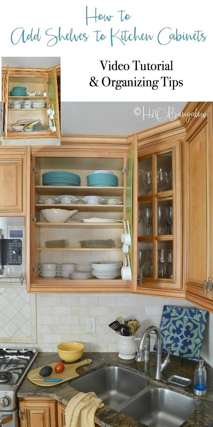 How to add extra shelves to kitchen cabinets video tutorial covers ...