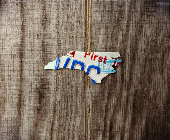 Upcycled North Carolina License Plate State of North Carolina Ornament by LicenseToCraft