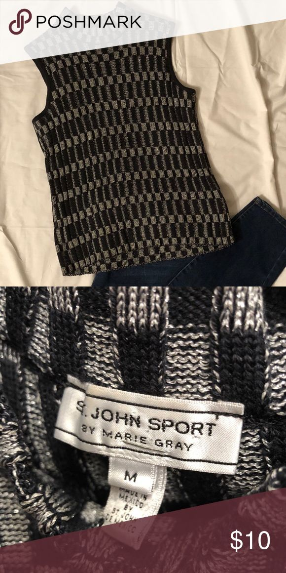 St. John Sport lovely black and silver vest Beautiful sweater vest in black and silver St. John Sport by Marie Gray Sweaters Crew & Scoop Necks