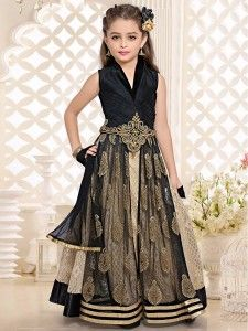 Beige black net silk choli suit