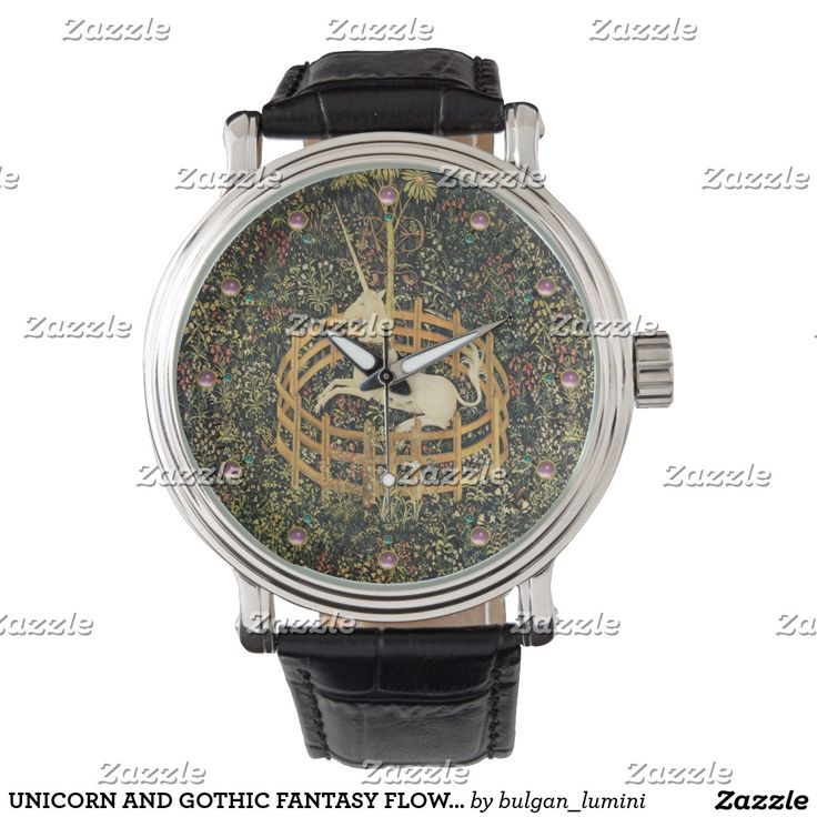 UNICORN AND GOTHIC FANTASY FLOWERS,FLORAL MOTIFS WATCH #green #watches #beauty #nature #horses #fashion #unicorns