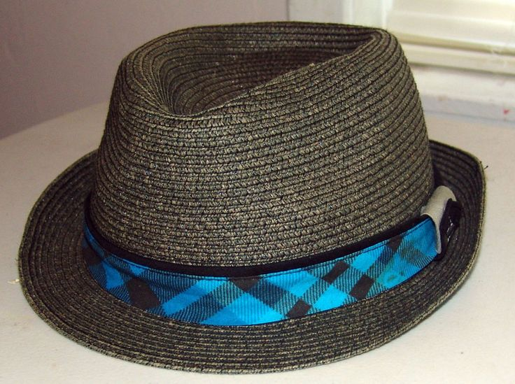 Quicksilver Straw Trilby Gray Fedora Hipster Hat Size L/XL #Quiksilver #Trilby