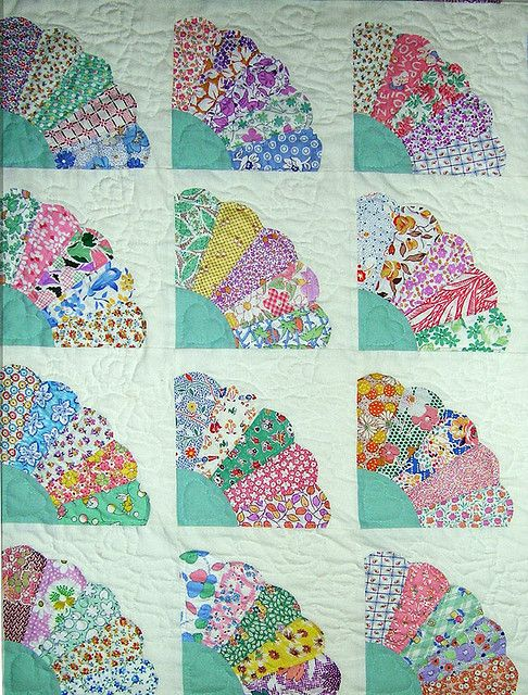 """fan quilt using 1930's fabrics or as the previous pinner said """"grandma did one of these using kids clothes and old sheets and stuff"""""""