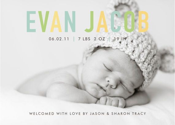 custom baby boy or girl photo birth announcement  by denadesign, $16.00