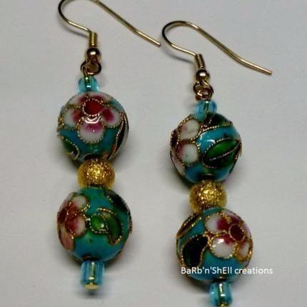 Earrings - Blue duo ball cloisonne - BaRb