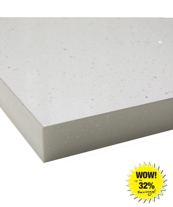 White Andromeda Gloss 40mm Laminate Kitchen Worktop With Square Edge