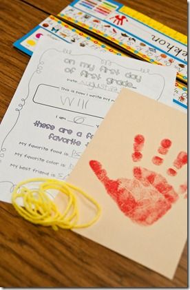 First week of school time capsule- stamp & date their itty hand prints, measure their height with yarn, and have them fill out a little first day info sheet with their self portrait on the back. Then save 'till the last day of school and have them open it and do the exact same activity! It'll be so much fun to see how much they grow and change within a year! Love this idea! (download sheets!)