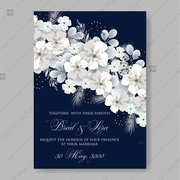 White Hydrangea On Blue Background Vector Floral Card For Wedding Invitation Template Invitation Template Wedding Invitation Templates Hydrangeas Wedding Wedding Invitations