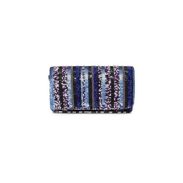 Santi Stripe Bead Clutch ($110) ❤ liked on Polyvore featuring bags, handbags, clutches, blue, beaded handbag, fold over handbag, beaded clutches, beaded purse and blue handbags