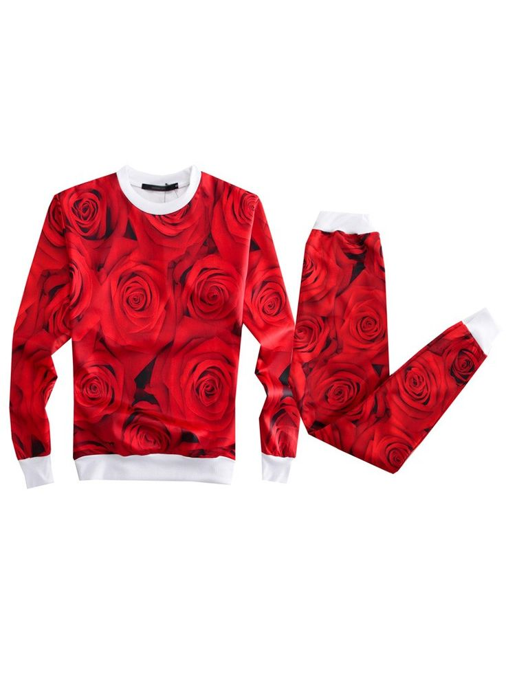 Red Emoji Sweatshirts Rose Emoji Printed Leisure Sweater for Men/Women - WSDear.com