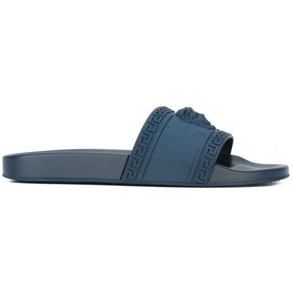 Versace Palazzo Medusa pool slides (230 CHF) ❤ liked on Polyvore featuring men's fashion, men's shoes, men's sandals, blue, mens open toe sandals, mens blue shoes, mens slip on sandals, mens blue slip on shoes and versace mens shoes