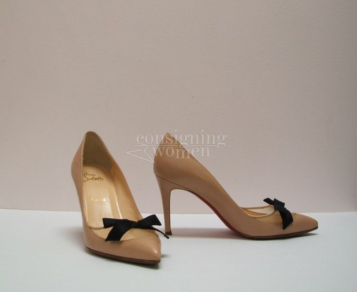 Christian Louboutin Love Me nude pumps, mesh & black bow, size 39 (8) 85mm SOLD #Louboutin #louboutinlover