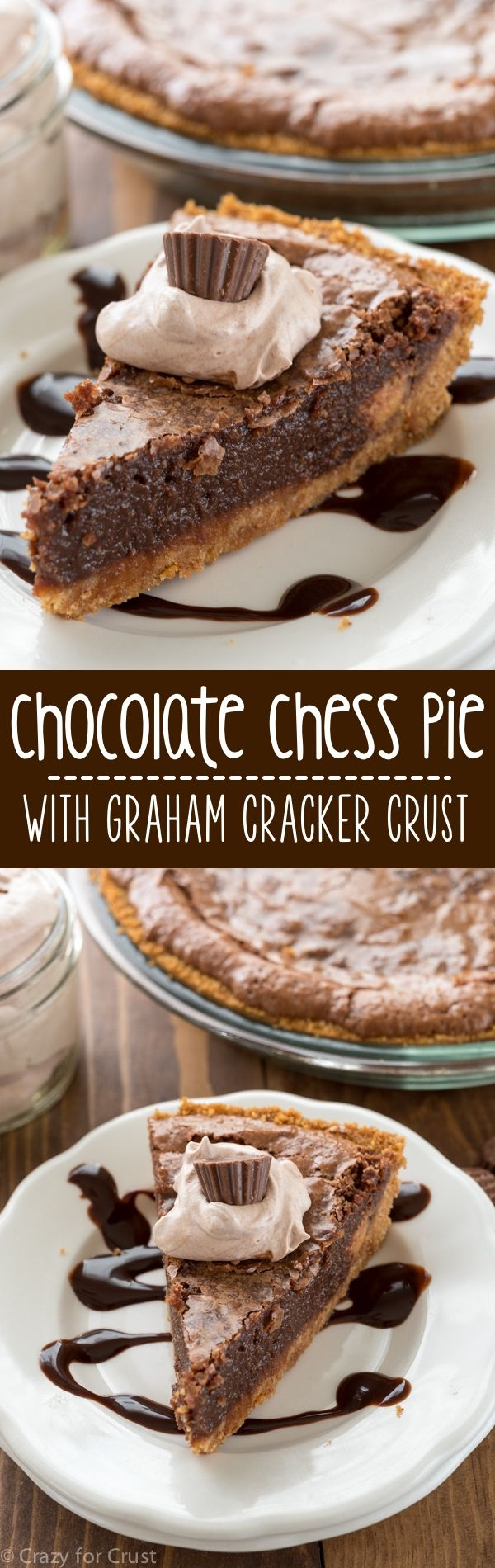 This EASY Chocolate Chess Pie Recipe has a crunchy graham cracker crust that is so good with the gooey chocolate filling! This is the BEST pie recipe!