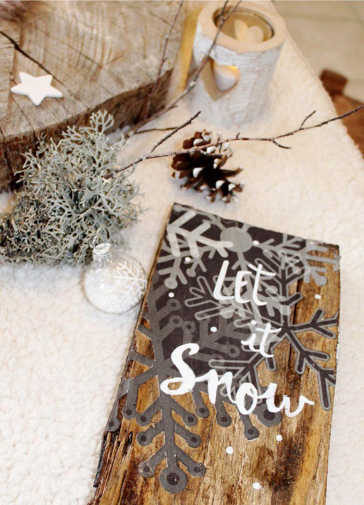 """""""let it snow"""" ambiance hiver petit panneau personnalisé par mambilline déco"""