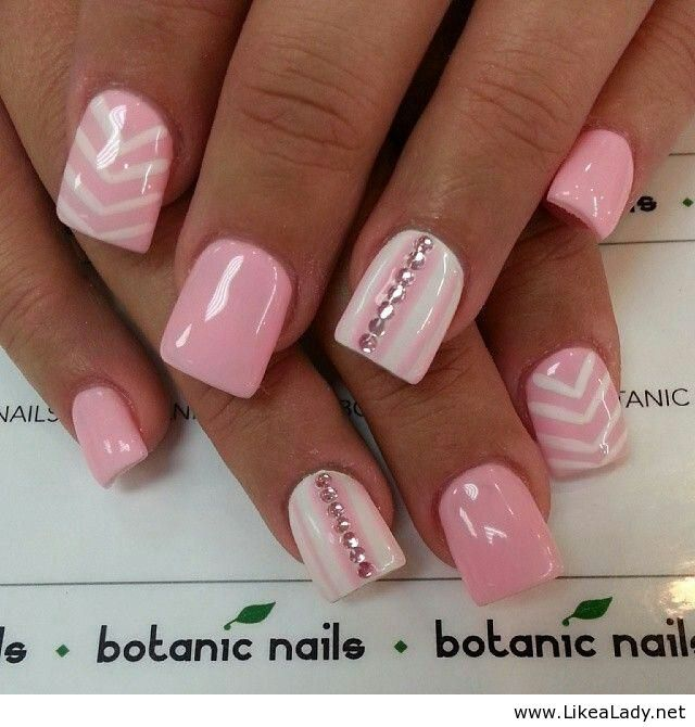Pink and White with Jewels and Chevron Nail Art Design