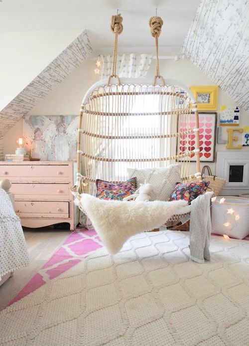 25 best ideas about indoor hanging chairs on pinterest swing chair indoor indoor hammock - Photos of girls bedroom ...