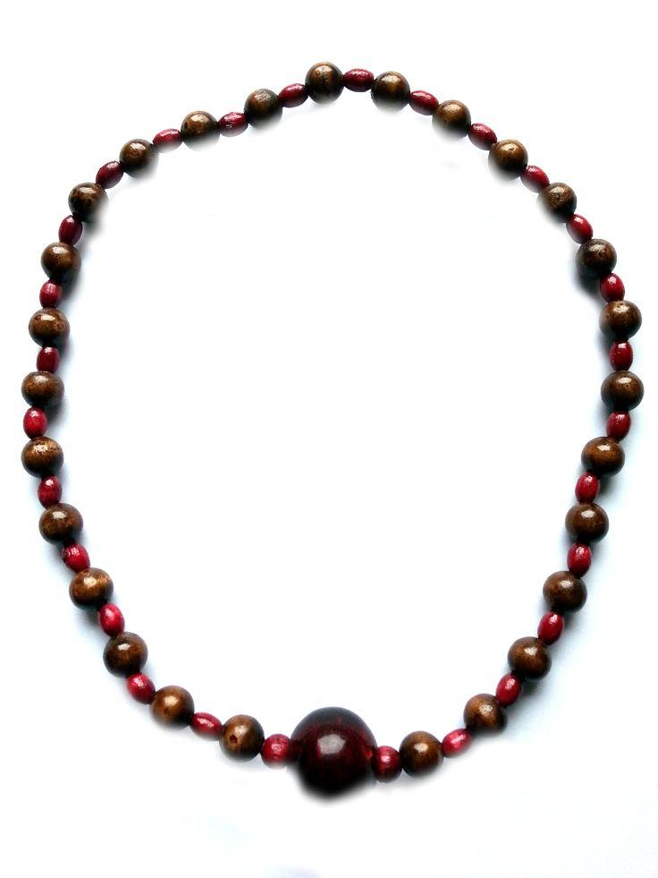 """Halskette Glas- und Holzperlen in rot und braun, Gesamtlänge ca. 46cm, handgefädelt auf Elastikband, ohne Verschluss """"friedericke-design"""" – 100%Handarbeit, Unikat MSK1015"""