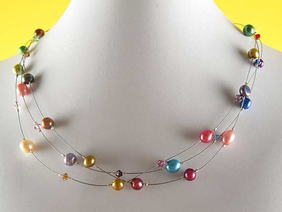 Crystal Rainbow Floating Pearl Necklace by downeastbaubles on Etsy