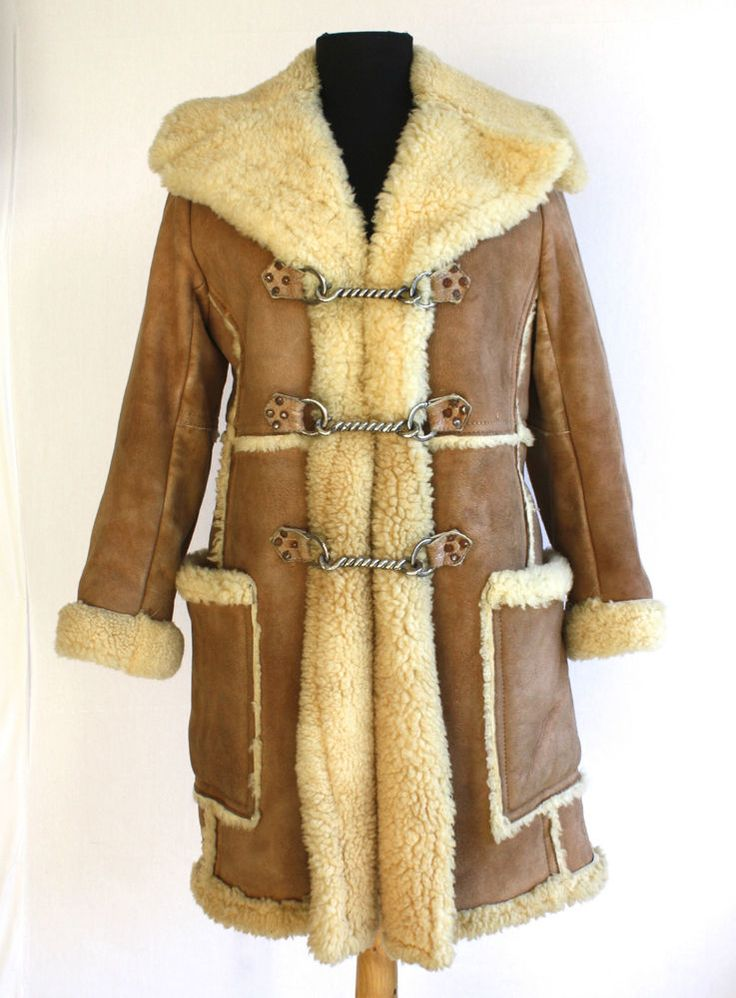 Vtg 60s 70s SHEARLING Sheepskin BOHO Brown Marlboro Coat Jacket