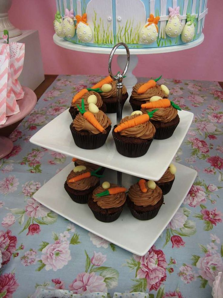 Cute carrot cupcakes at an Easter party! See more party planning ideas at CatchMyParty.com!