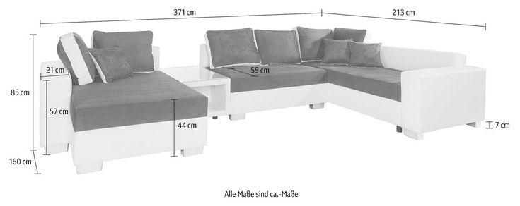 RAUM.ID Wohnlandschaft, wahlweise mit Bettfunktion, Tisch, RGB Beleuchtung oder mit USB Anschluss ab 619,99€. Wahlweise mit Bettfunktion und Bettkasten bei OTTO