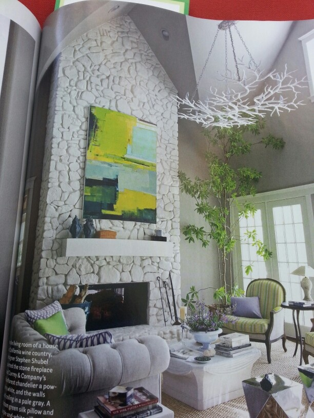White painted rock fireplace