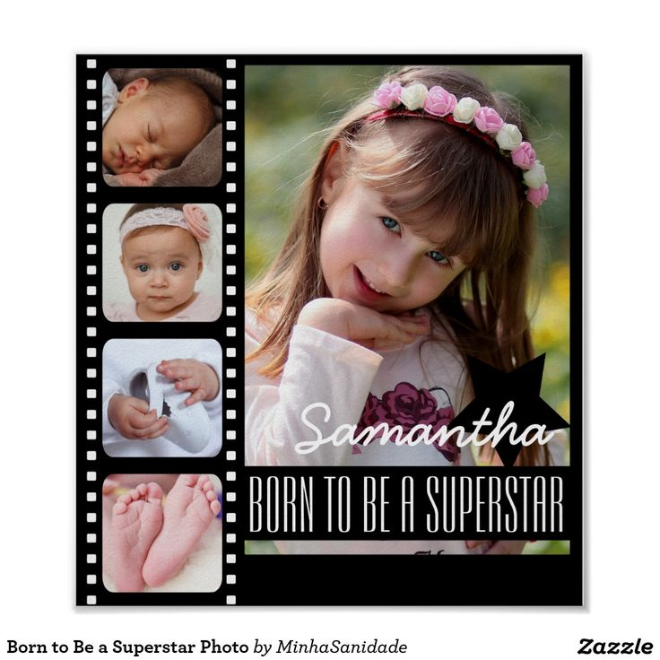 Beautiful photo with movies theme with space for four photos square or Instagram style and one main photo. Customise it with the name of your kid and your message. Great present idea for mothers day.