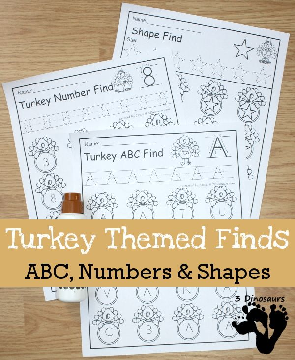 No Prep Turkey Themed Finds: ABCs, Numbers & Shapes: $ no prep pages for kids to use in preschool and kindergarten - 3Dinosaurs.com
