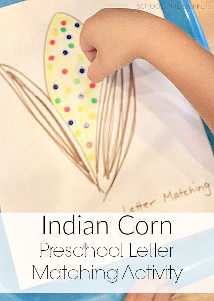 Indian Corn Letter Matching Activity for Preschoolers from School Time Snippets. Pinned by SOS Inc. Resources. Follow all our boards at pinterest.com/sostherapy/ for therapy resources.