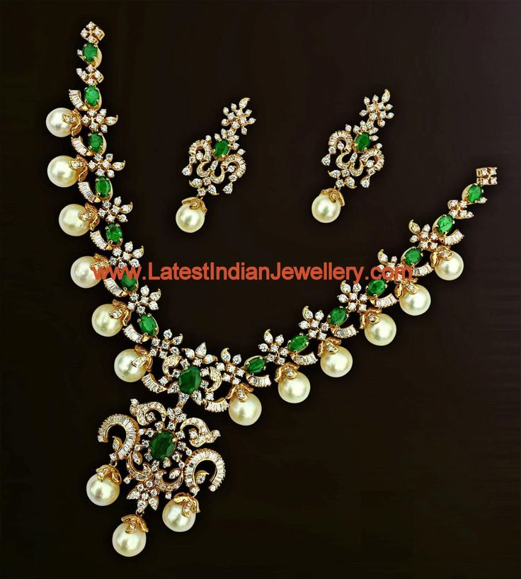 Gorgeous Bridal Diamond Set with Emeralds and Hyderabad Pearls   Latest Indian Jewellery Designs