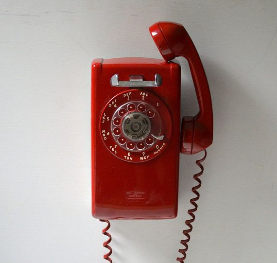 Vintage Rotary Dial Wall Phone In Red Working Wall By