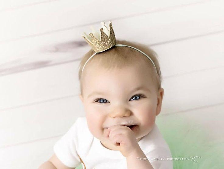 GOLD CROWN HEADBAND, Birthday Crown, Half Birthday Crown, Crown Headband, Birthday Crown, Smash Cake Headband, Princess Crown, 1st Birthday by LilPinkGoose on Etsy