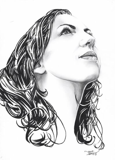 Retrato a lápiz y tinta