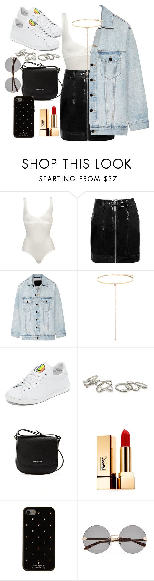 """Untitled #24"" by triciabae2055 on Polyvore featuring Wolford, Alexander Wang, Shay, Joshua's, Kendra Scott, Lancaster, Yves Saint Laurent, Kate Spade and Karen Walker"