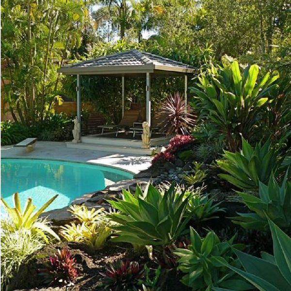 10 Ways To Create A Backyard Oasis: Patio With Swimming Pool And A Tropical Landscape