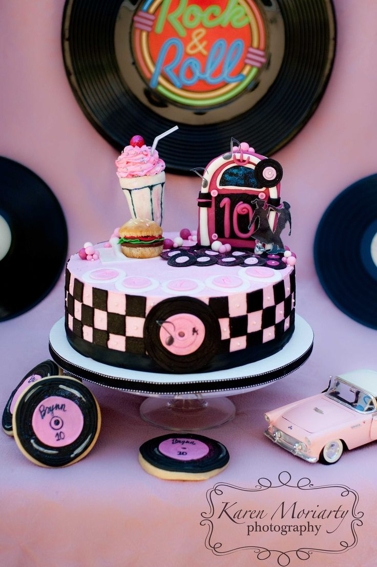 Google Image Result for http://kemphoto.com/blog/wp-content/uploads/2011/09/SM-50s-Cake-6123-copy.jpg:... maybe without toppers?? find another topper, and put with the hamburger and milkshake cupcakes?