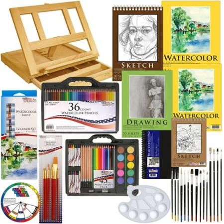 124pc Deluxe Watercolor Paint Sketch Set Easel Paint Pads Brushes Color Pencils - Walmart.com