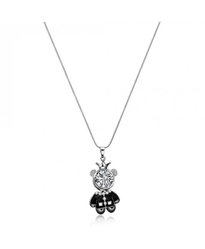 Ouruora Black Enamel Teddy Bear Pendant Necklace Black Gun Plated