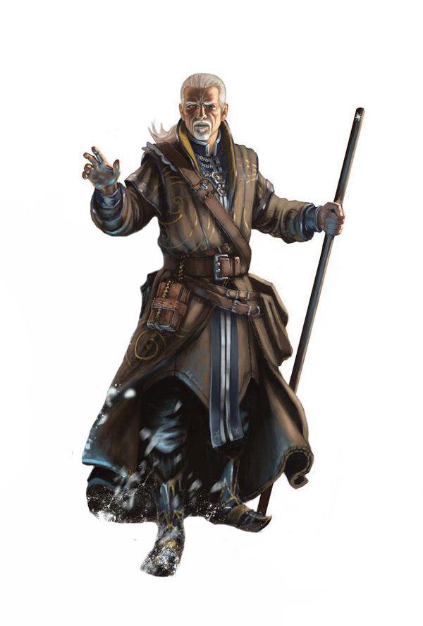 Old Human Wizard - Pathfinder PFRPG DND D&D d20 fantasy
